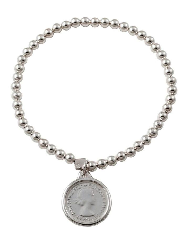 4mm Stretchy Bracelet w/ Threepence - Silver image 1