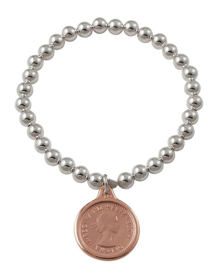 6mm Stretchy Bracelet w/ Sixpence - Rose Gold image 1