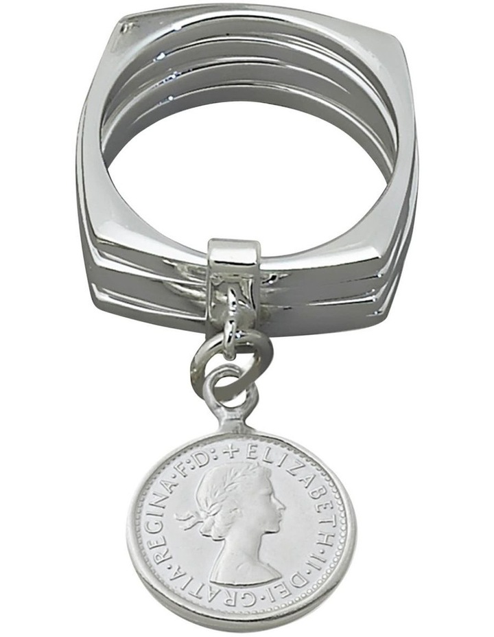 Silver 4 Stack 3 Pence Coin Ring image 1