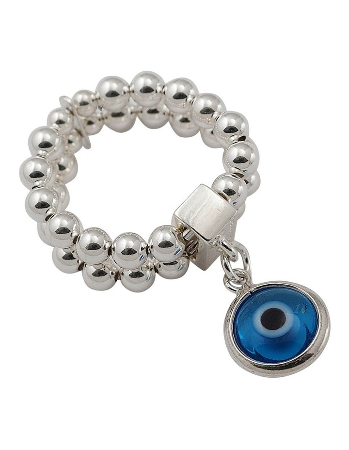 Double Row Stretchy Ring w/ Greek Evil Eye - Silver image 1