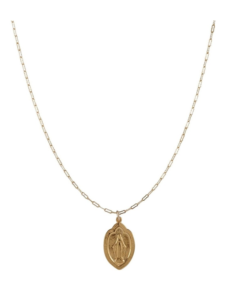 Yellow Gold Filled Flat Filligree Chain Necklace W/ Yellow Gold Plated St Mary Charm image 2