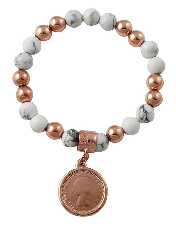 Howlite & 14K Rose Gold Filled 8MM Stretchy Bracelet W/ Rose Gold Plated Authentic 6 Pe image 1