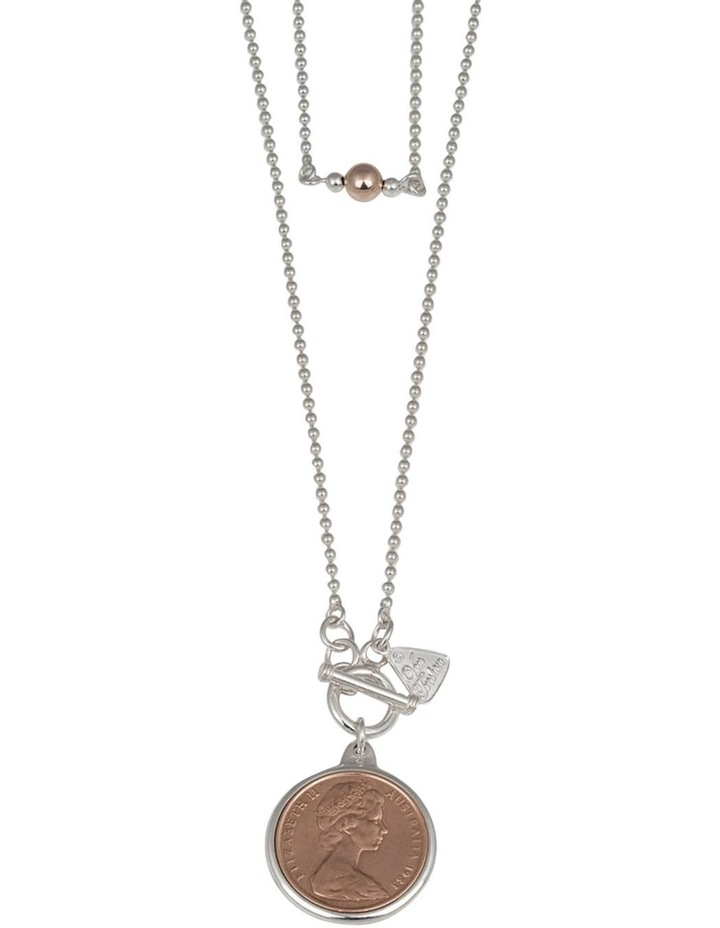 Silver 80cm Ball Chain Necklace W/ Two Cent Coin image 2