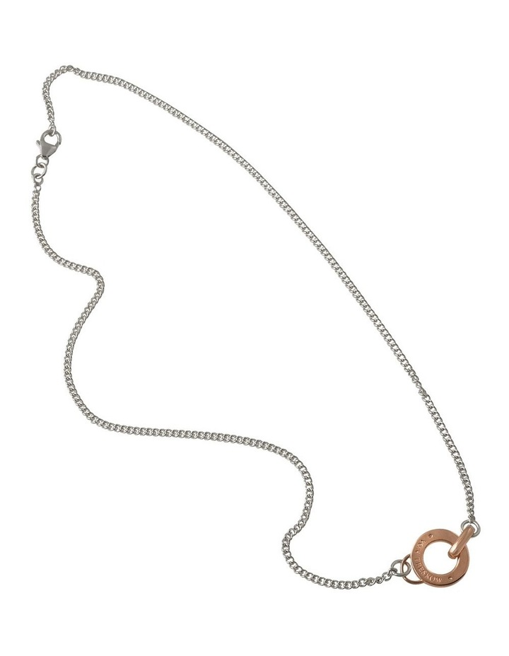 Silver 45cm Curb Chain Necklace W/ Rosegold Von Treskow Disc image 1