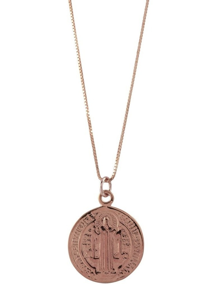 Box Chain Necklace w/ St. Benedict - Rose Gold image 1