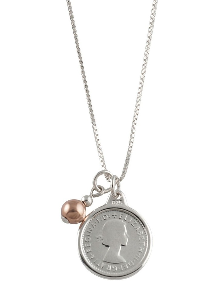 Box Chain Necklace w/ Threepence & Rose Gold Ball image 1