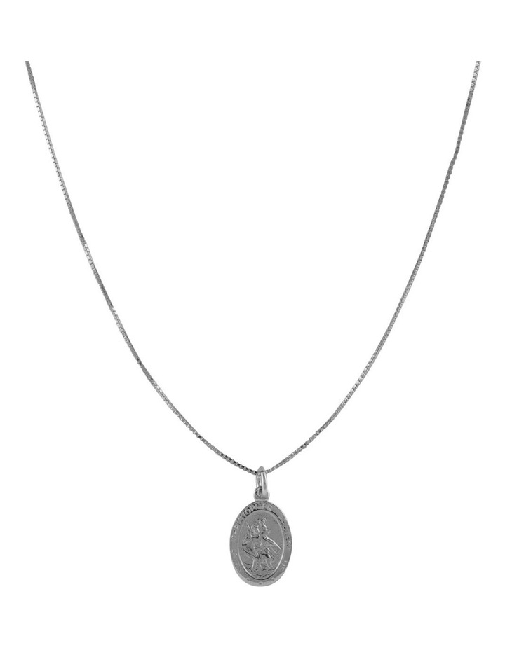Silver Filled Box Chain Necklace W/ St Christopher Charm image 1