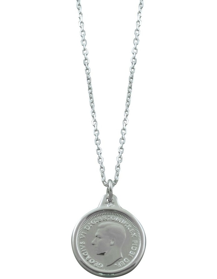 Sterling Silver Adjustable Link Chain Necklace with 3 Pence Coin image 1