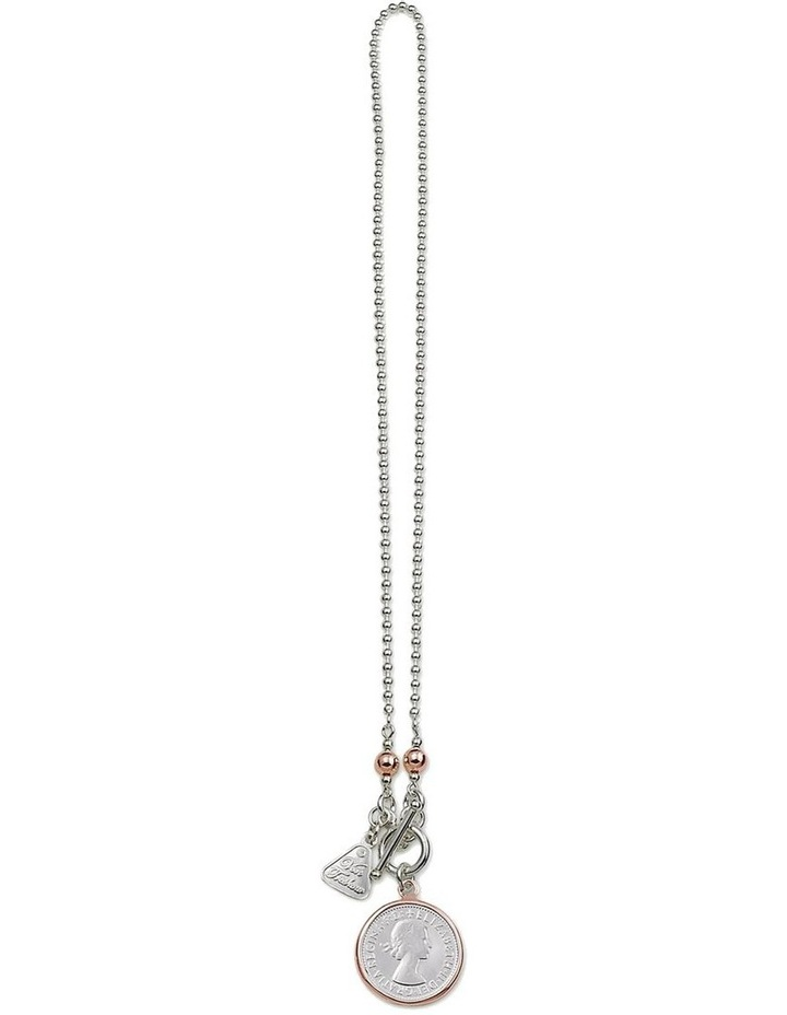Silver Ball Chain Necklace w/ 2-Tone Shilling image 1