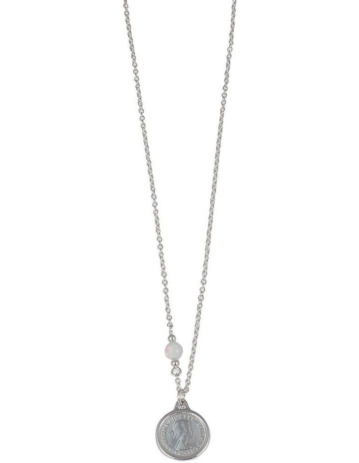Fine Necklace w/ Threepence & Czelline Opal - Silver image 1