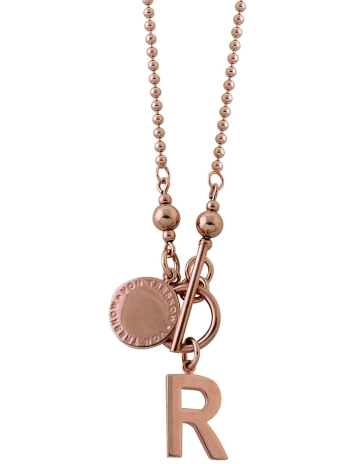 Ball Chain Necklace w/ VT Plate & Initial - Rose Gold image 1