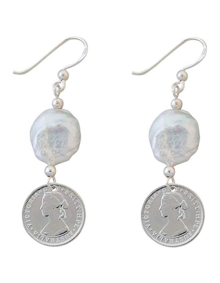 Silver 3 Pence Token Earrings W/ Small Keshi Pearl image 1