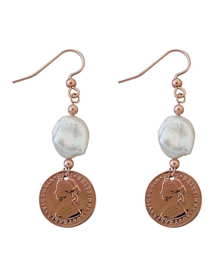 Rose Gold Plated 3 Pence Token Earrings W/ Small Keshi Pearl image 1