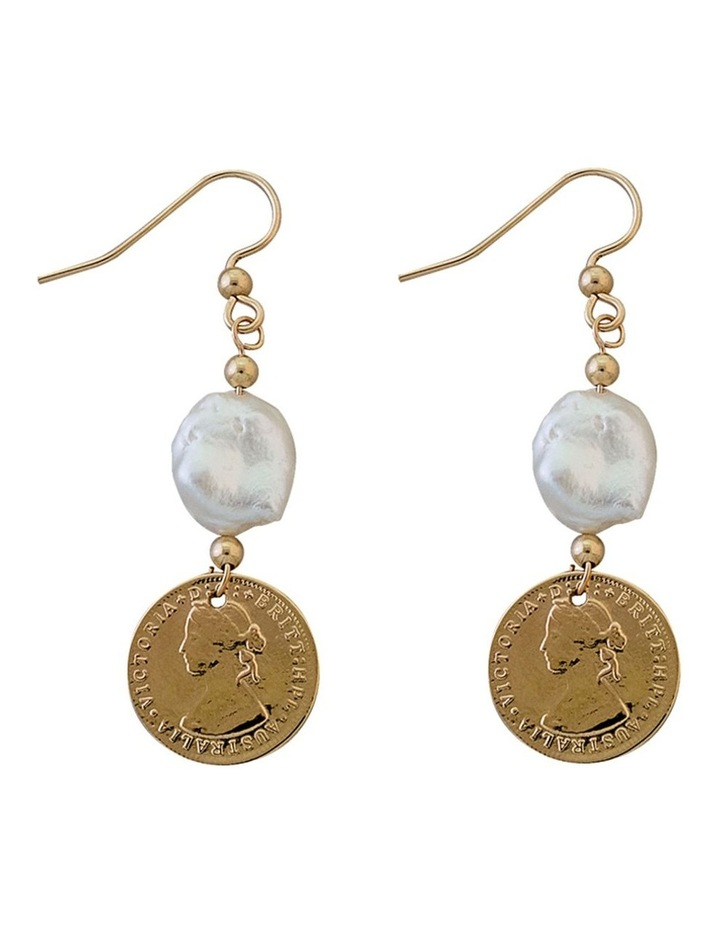 Yellow Gold Plated 3 Pence Token Earrings W/ Small Keshi Pearl image 1