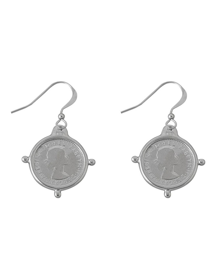Hook Earrings w/ Compass Frame Threepence - Silver image 1
