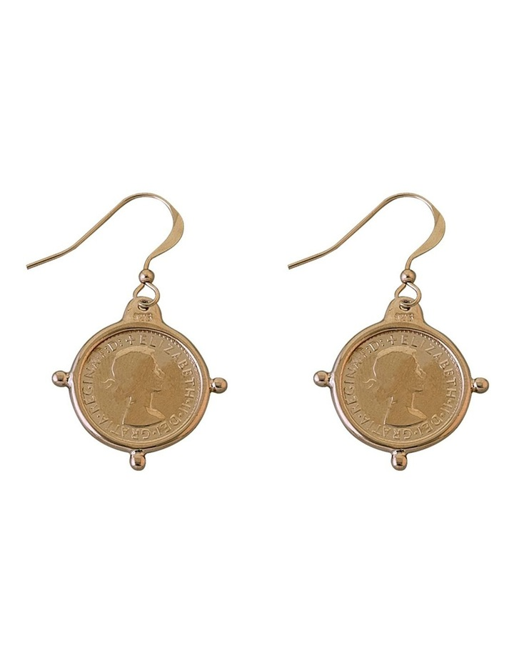 Hook Earrings w/ Compass Frame Threepence - Gold image 1