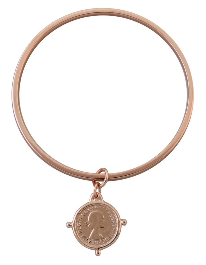 Rose Gold Plated Flat Edged Bangle W/ 3 Pence Coin In Compasilver Frame image 1