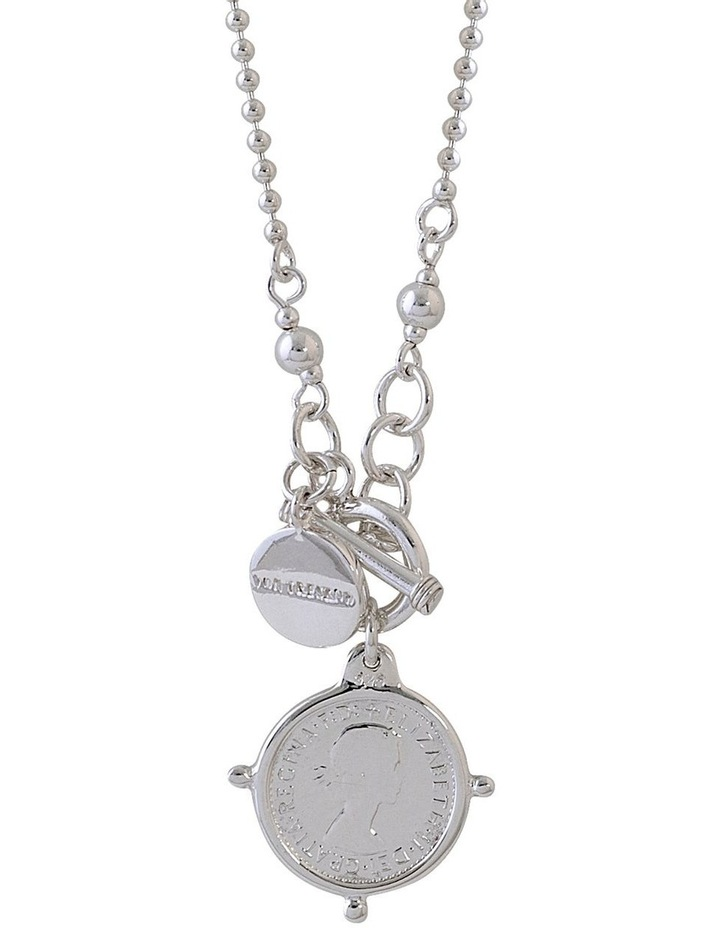 Fine Ball Chain Necklace w/ VT Plate & Threepence - Silver image 1