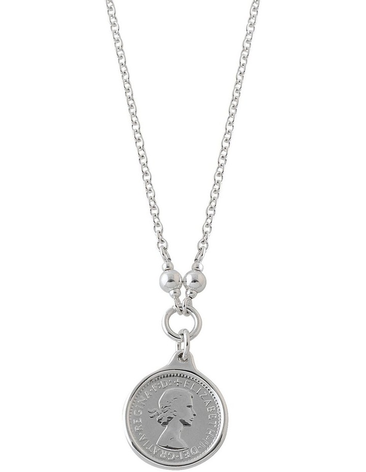Silver Name Chain Necklace W/ 4MM Pins And Silver 3 Pence image 1