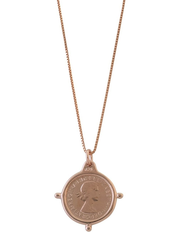 Rose Gold Plated Fine Box Chain W/ 3 Pence Coin In Compasilver Frame image 1