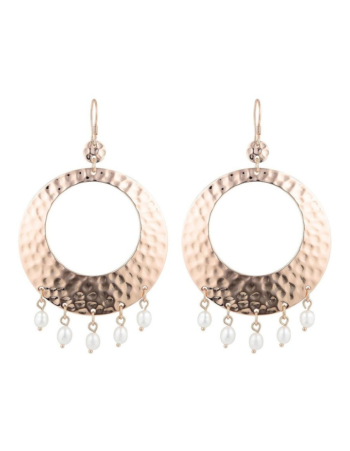 Palm Spring Hammered Round Earrings-Rose Gold/Pearl image 1
