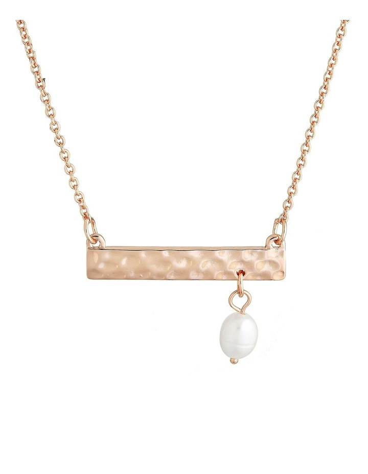 Palm Spring Hammered Bar Necklace - Rose Gold/Pearl image 1