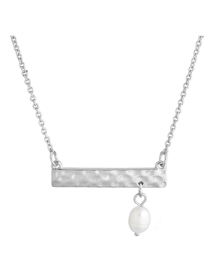 Palm Spring Hammered Bar Necklace - Silver/Pearl image 1