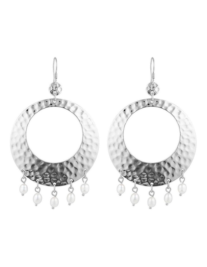 Palm Spring Hammered Round Earrings - Silver/Pearl image 1