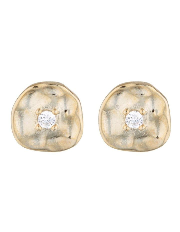 Cleo Stud Earrings - Gold/Cubic Zirconia image 1