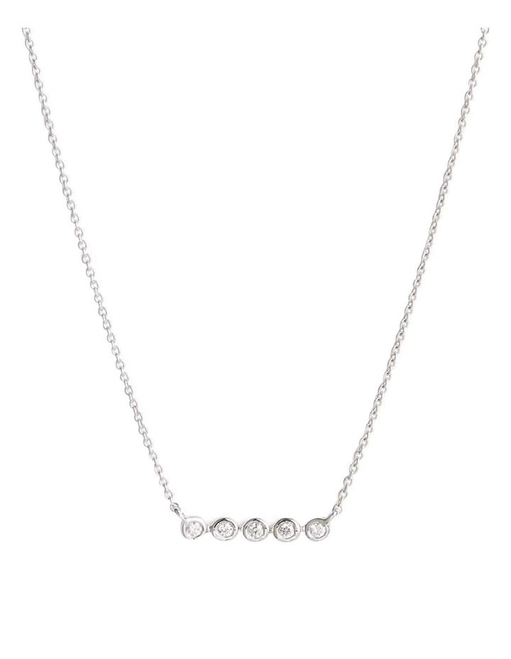 Sterling Silver Cubic Zirconia Bezel Bar Necklace - Silver image 1