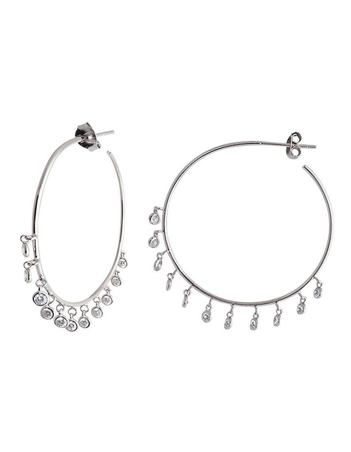 Bezel Drop Hoop Earrings - Silver image 1