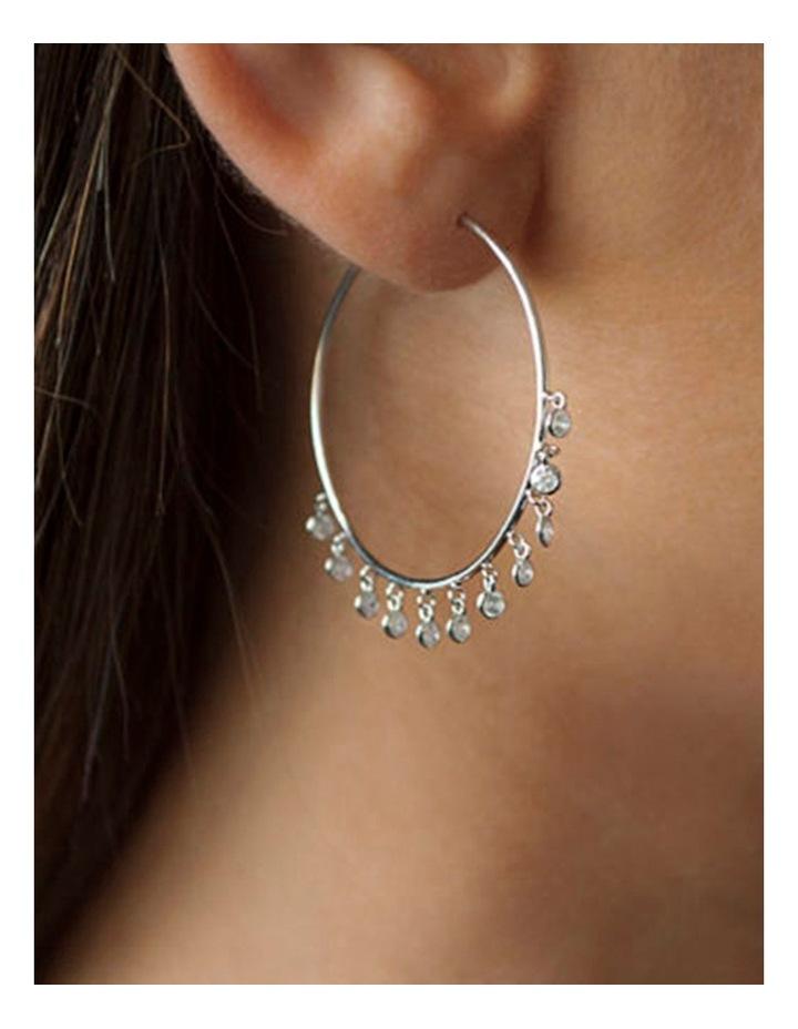 Bezel Drop Hoop Earrings - Silver image 2