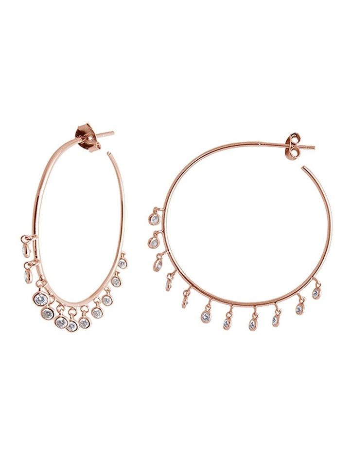 Latienne Rose Gold Cubic Zirconia Bezel Drop Hoop Earrings image 1