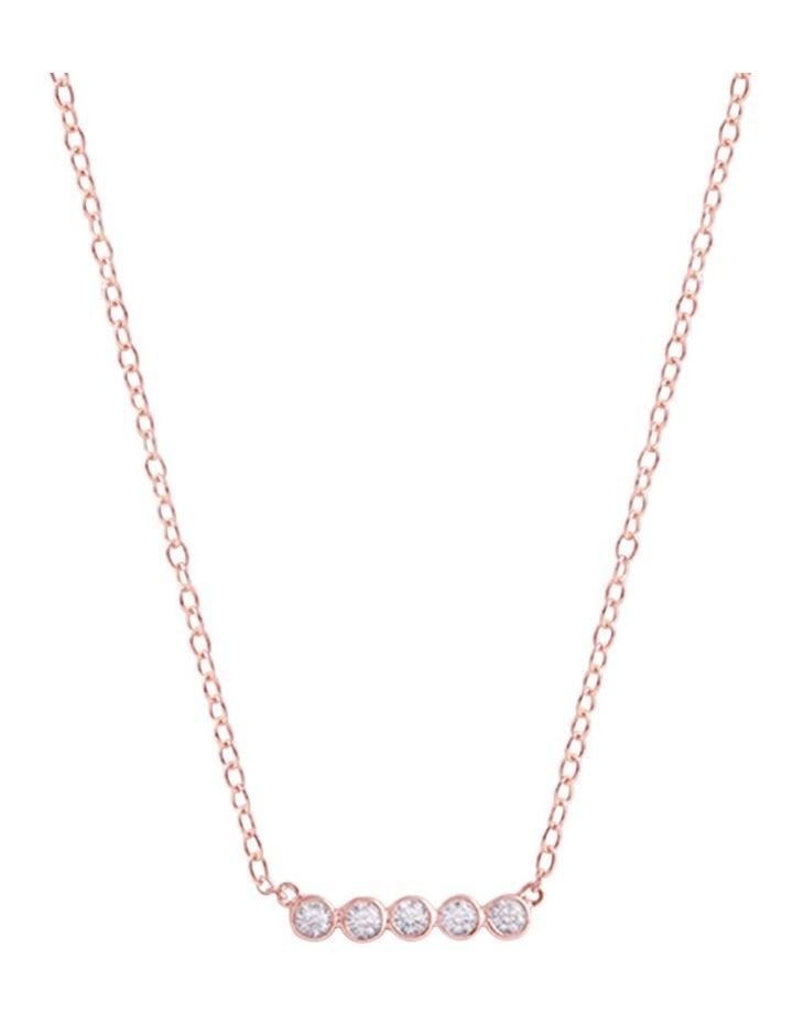 Bianc Latienne Rose Gold Cubic Zirconia Bezel Bar Necklace image 1