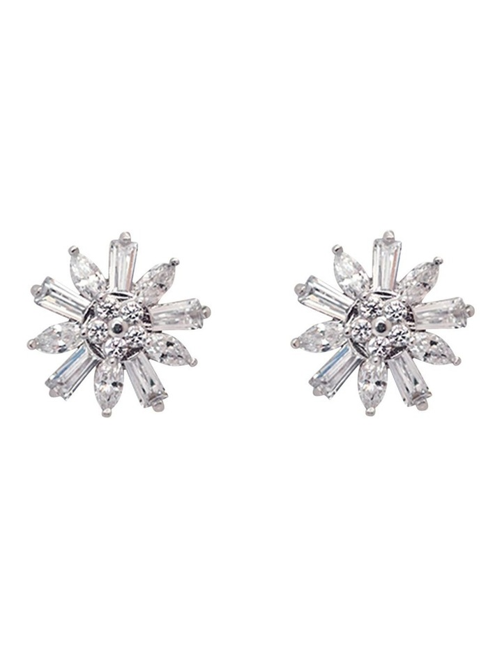 Small Flower Stud Earrings w/ Cubic Zirconia image 1