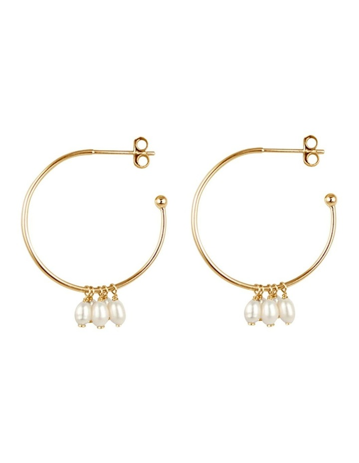 Cluster Drop Hoop Earrings w/ Freshwater Pearl - Gold image 1