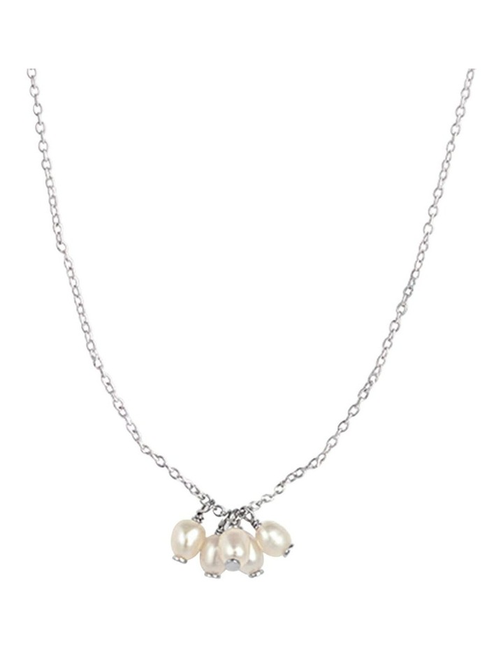 Cluster Drop Pendant Necklace w/ Freshwater Pearl - Silver image 1