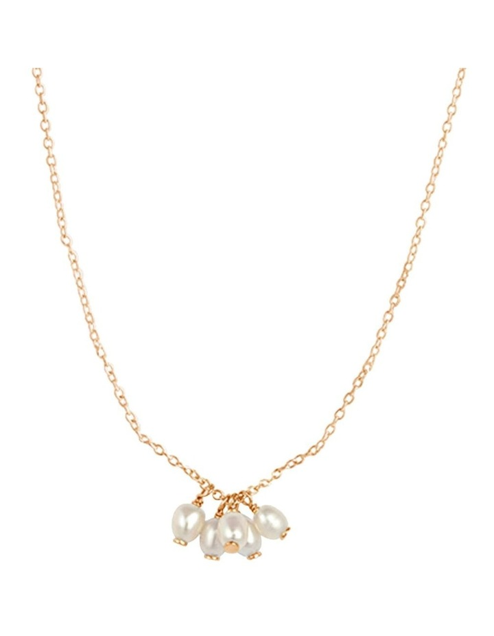Cluster Drop Pendant Necklace w/ Freshwater Pearl - Gold image 1
