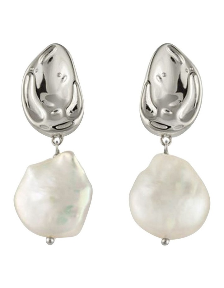 Atlantic Earrings w/ Freshwater Pearl - Silver image 1