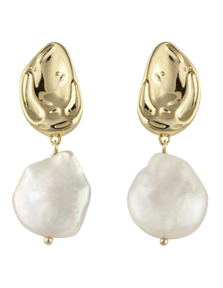 Atlantic Earrings w/ Freshwater Pearl - Gold image 1