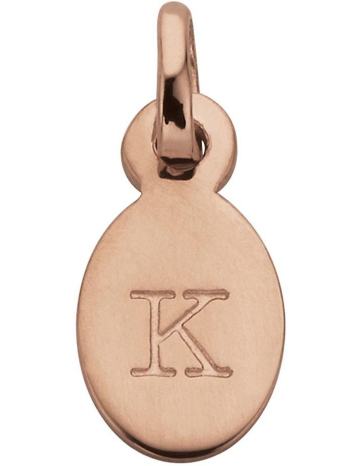 Initial Charm w/ 18K Rose Gold Vermeil - K image 1