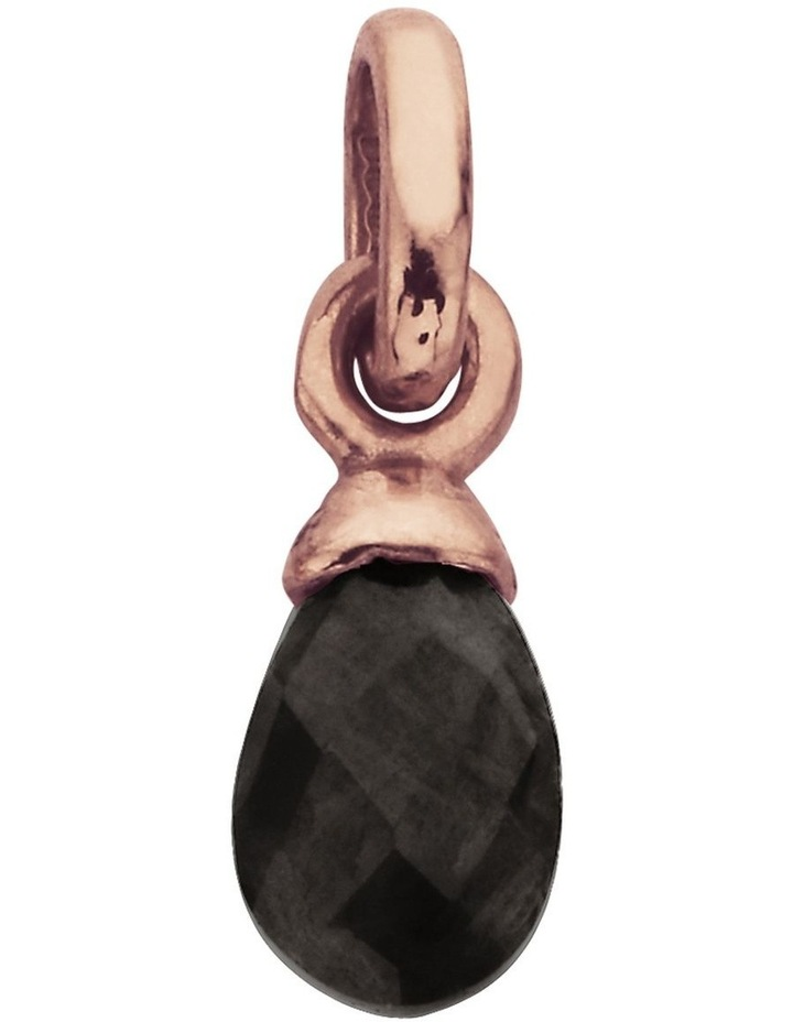 Black Agate Gemstone Charm w/ 18K Rose Gold Vermeil image 1