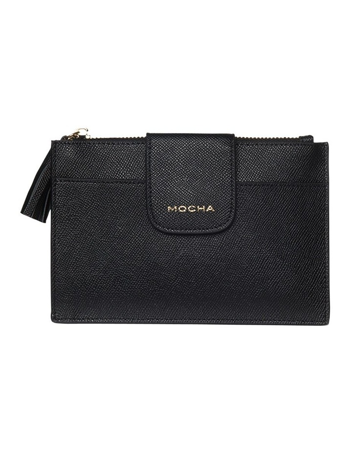 Tassel Clip Leather Coin Wallet - Black image 1