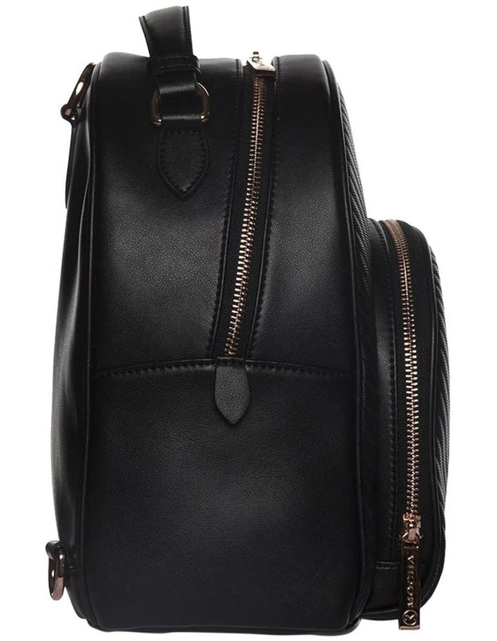 Chevron Shell Leather Backpack-Black/Rose Gold image 3
