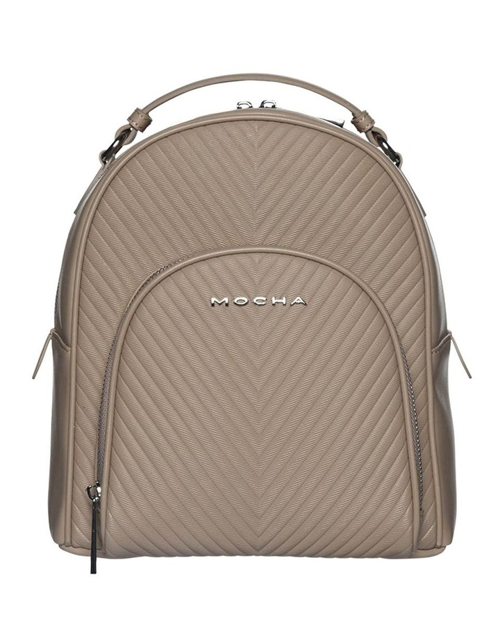 Chevron Shell Leather Backpack-Taupe image 1