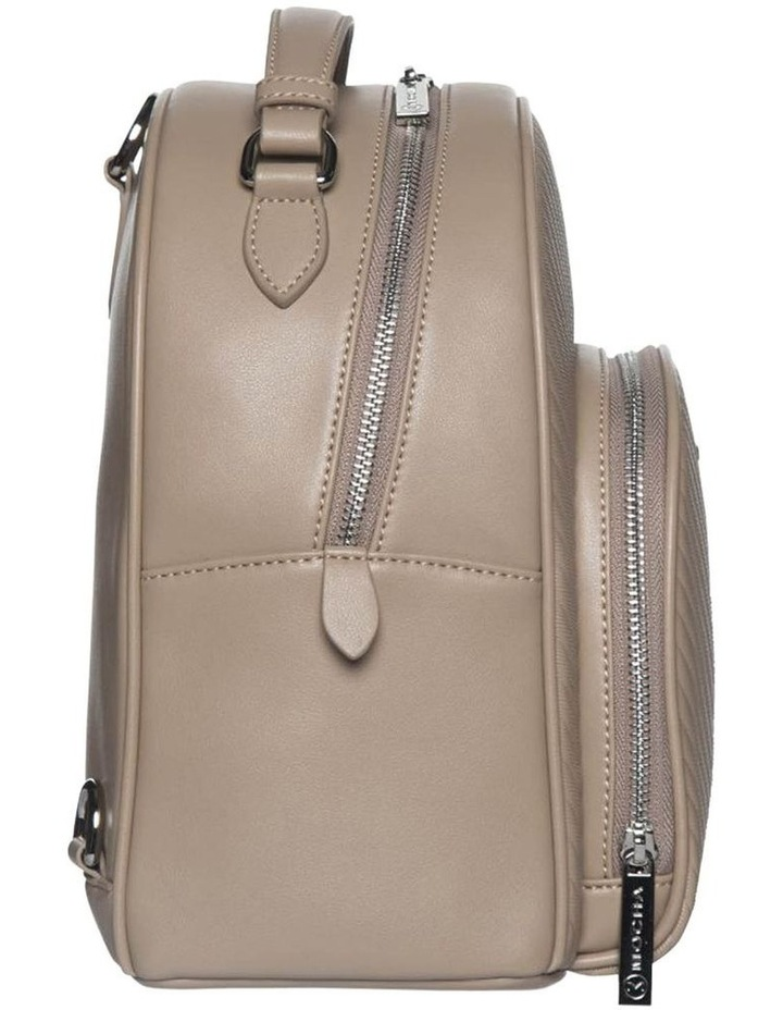 Chevron Shell Leather Backpack-Taupe image 2