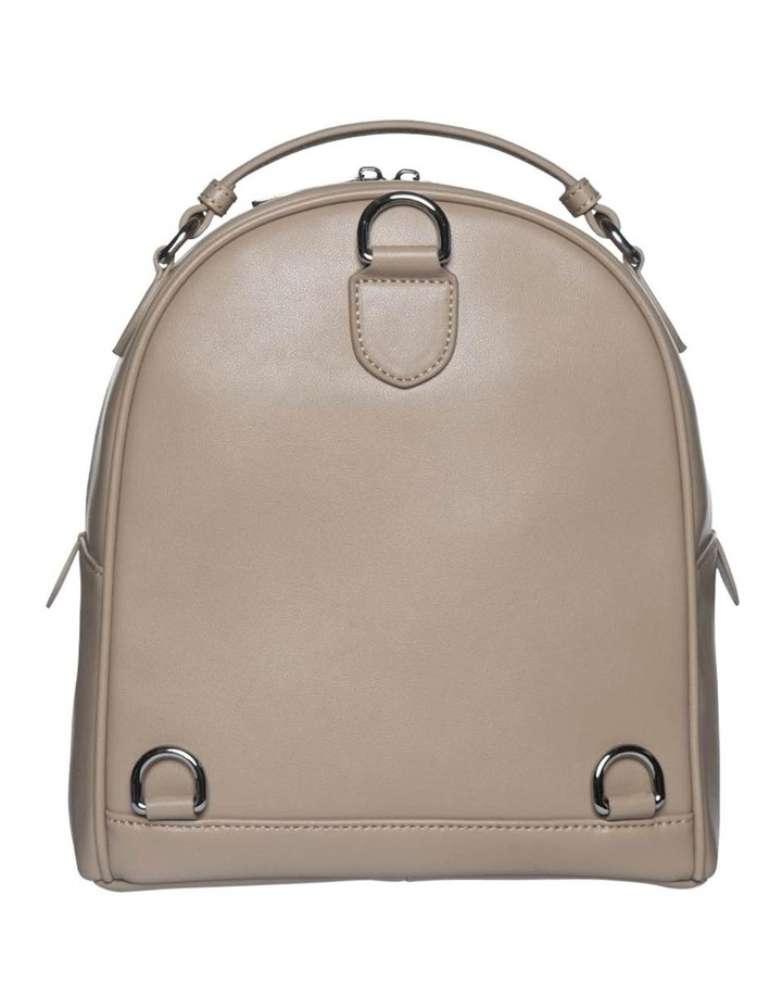 Chevron Shell Leather Backpack-Taupe image 3