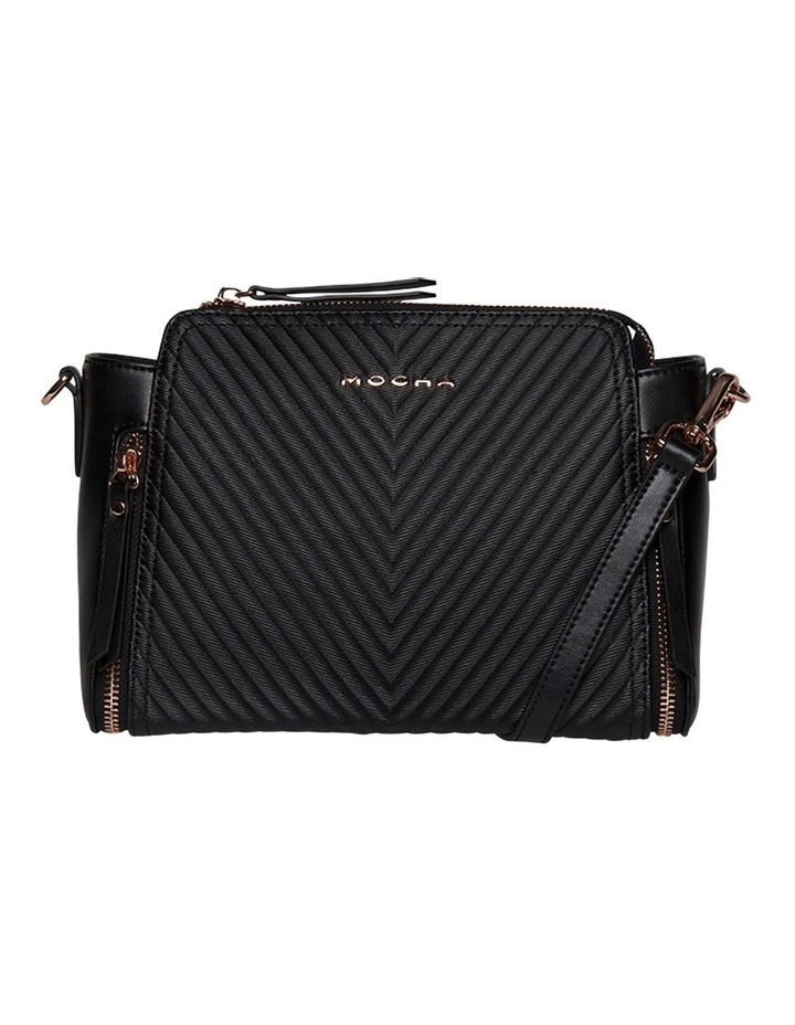 Chevron Double Zip Crossbody Bag-Black image 1