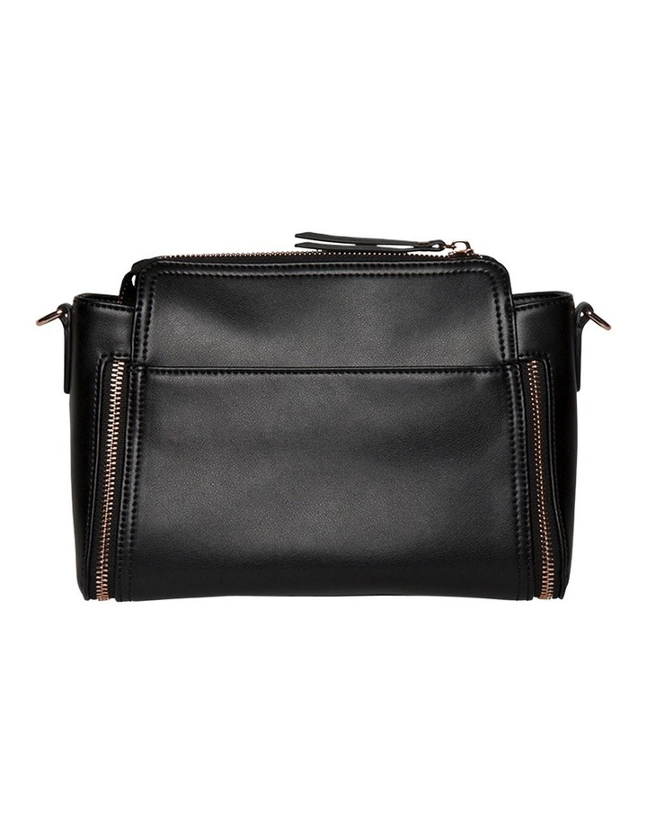 Chevron Double Zip Crossbody Bag-Black image 3