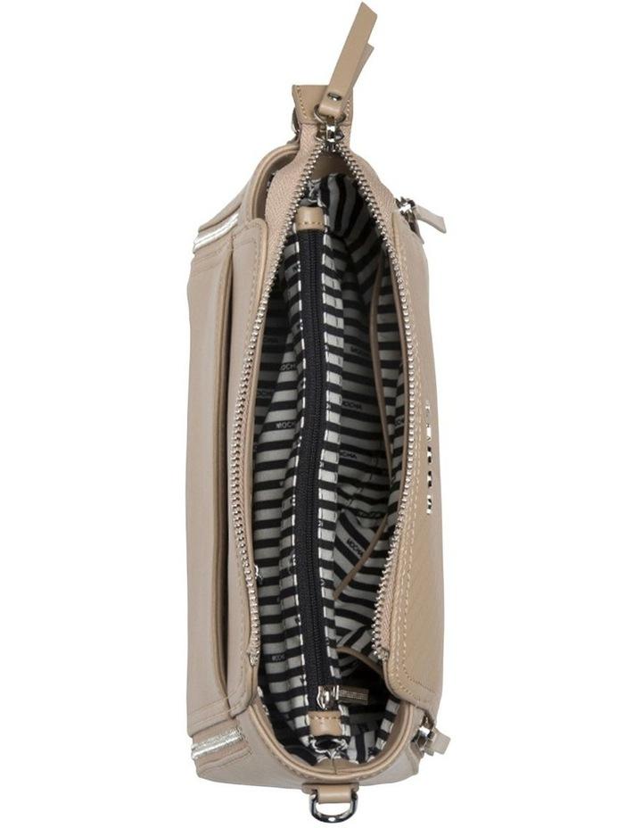 Chevron Double Zip Crossbody Bag - Taupe image 5